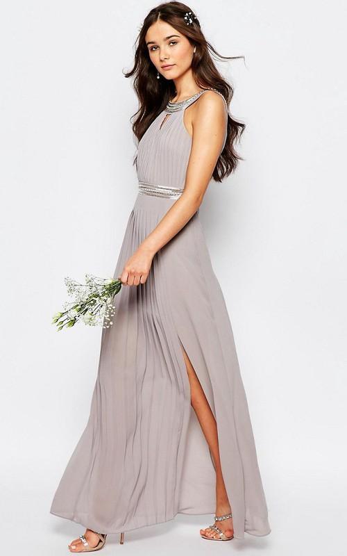 A-Line Floor-Length Beaded Sleeveless Scoop-Neck Chiffon Bridesmaid Dress With Pleats