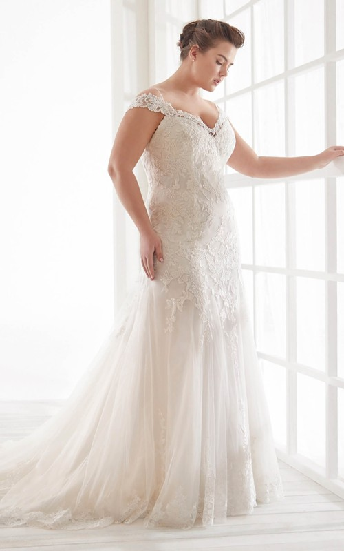 Sexy Trumpt Off-the-shoulder Lace Bridal Gown With Straps And Buttons V-back