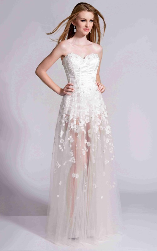 floral Sweetheart Tulle Dress With Corset Back