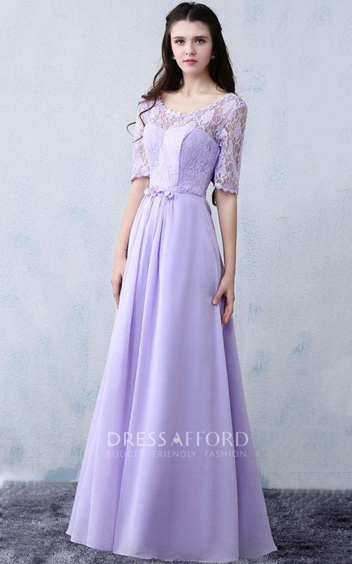 V-neck Half Sleeve Floor-length Dress Lace top