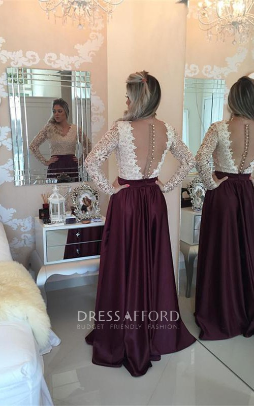 Stunning Long Sleeve Lace Pearls Prom Dresses 2018 Long Party Gowns
