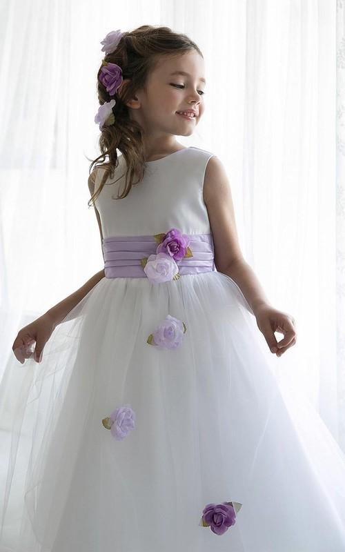 Tulle Slit-Front Tea-Length Sequined Flower Girl Dress