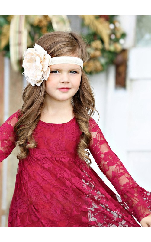 Pleated Toddler Scoop-Neckline Long-Sleeve Lace Dress