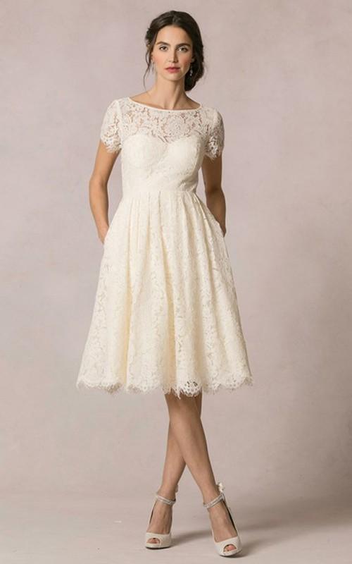 Bateau Short Sleeve A-line Wedding Dress With Keyhole back
