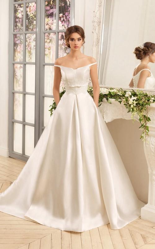 Off-The-Shoulder Satin Long A-Line Lace-Up Dress