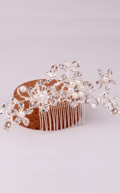 Korean Pearl Flower Gold Hair Comb