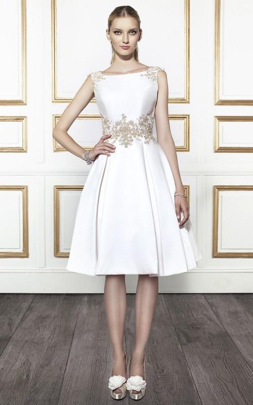 Bateau Sleeveless Satin Knee-length A-line Wedding Dress With Deep-V Back