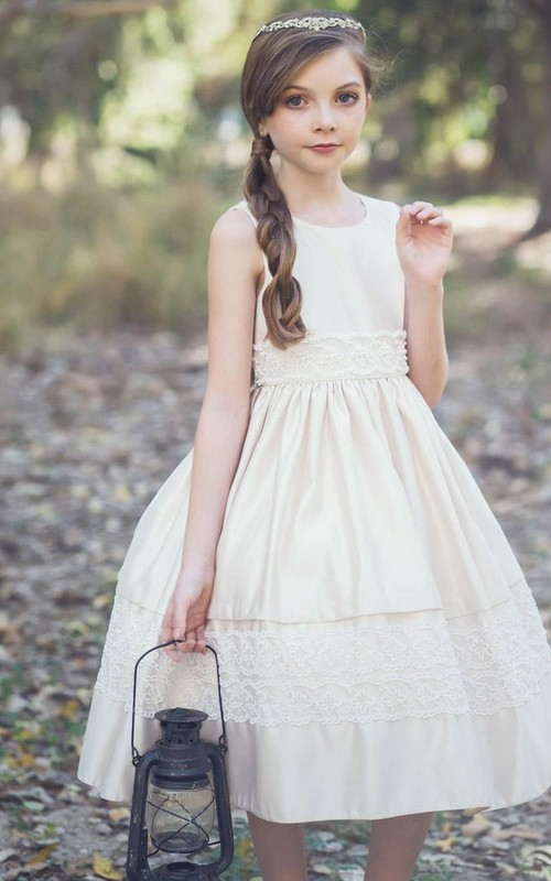 Layered Lace Sequined Tea-Length Tulle Flower Girl Dress