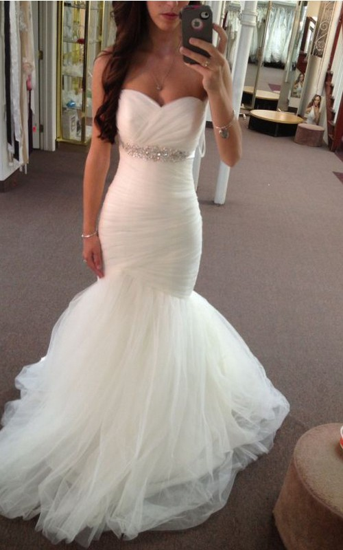 Empire Backless Ruched Sweetheart Tulle Gown