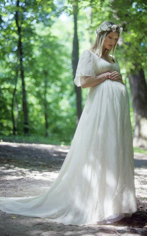 Country V-neck Short Sleeve Lace Pleated Maternity Wedding Dress