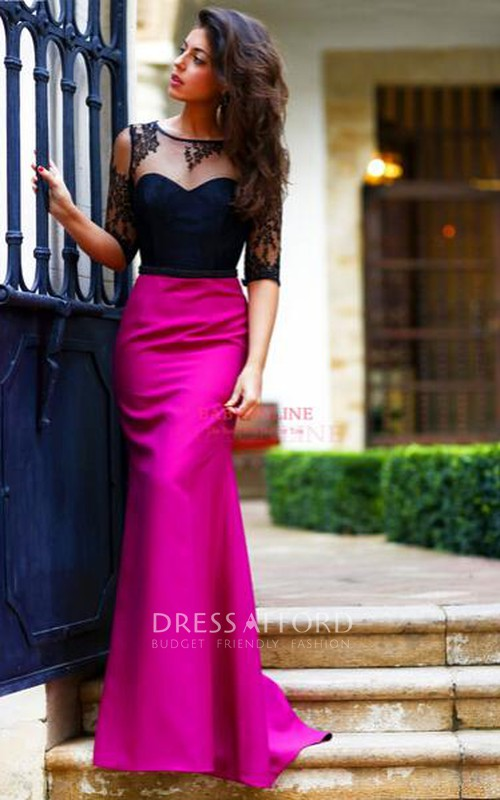 Black Sassy Half-Sleeves Formal Long Sheath Lace Gown