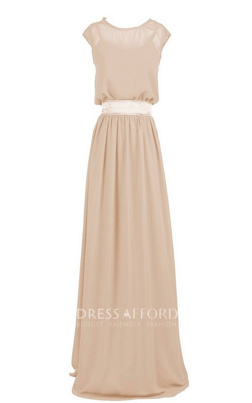 Scoop-neck Cap-sleeve Chiffon Floor-length With Illusion And bow