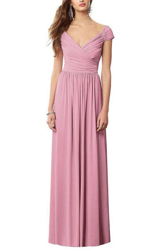 Cap Sleeve V-neck Ruched Long Chiffon Dress