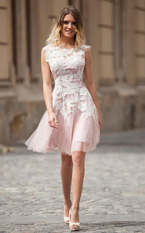 Cap Sleeve Lace And Tulle Short Prom Dress
