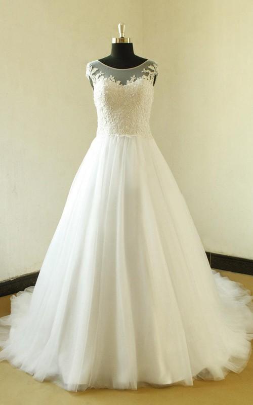 A-Line Elegant Jewel Cap-Sleeve Bateau-Neckline Bridal Dress