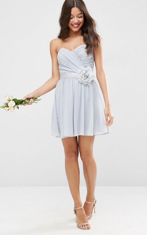 Short A-Line Sweetheart Criss-Cross Sleeveless Chiffon Bridesmaid Dress