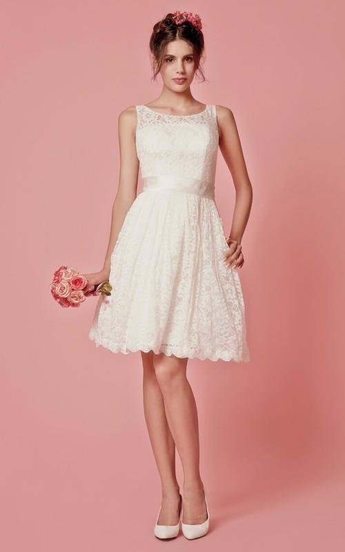 Lace Scoop Neck A-Line Sleeveless Short Dress