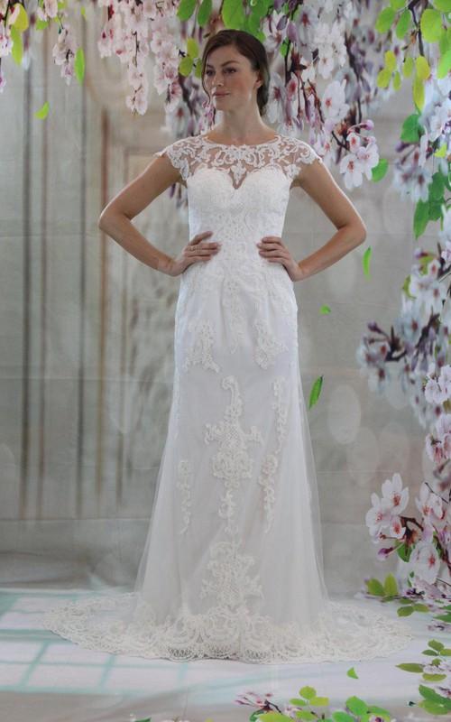 Appliqued Sheer Back Cap-Sleeve Jewel-Neckline Gown