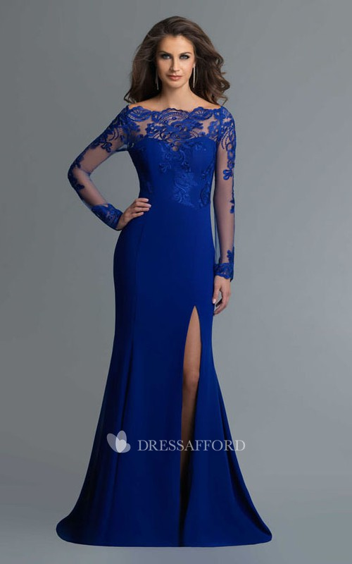 Column Split Front Lace Full-Length Off-The-Shoulder Jersey Long-Sleeve Illusion Dress