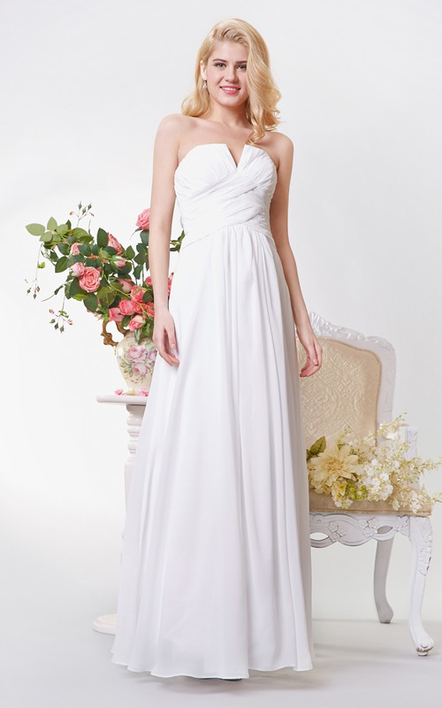 Sexy Neckline Backless A-line Long Chiffon Dress