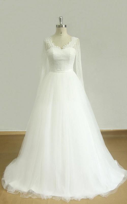 V-Neck Long Sleeve Tulle Lace Satin Dress With Beading