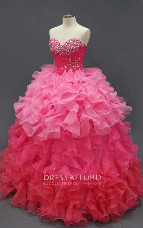 Full-Length Organza Sweetheart Jeweled Corset Ruffled Lace Dress