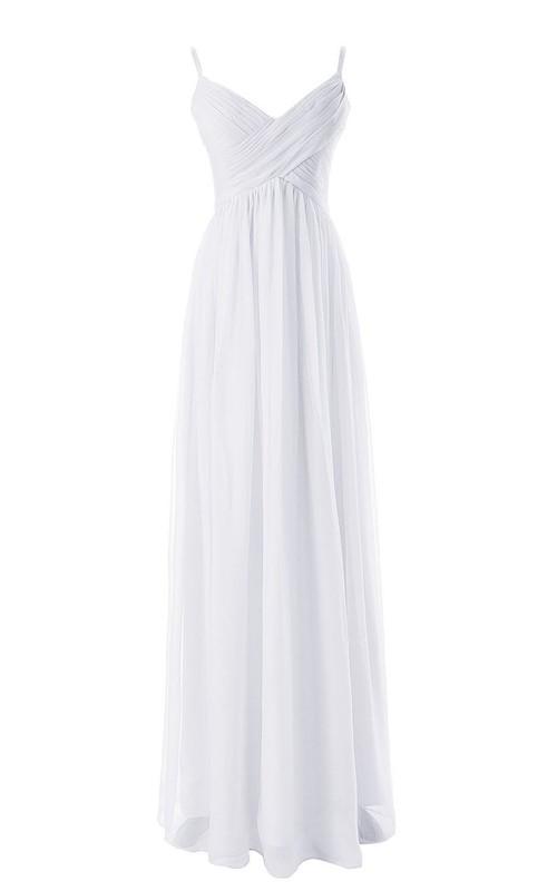 Ruched-Bodice V-Neckline Sleeveless Chiffon Dress