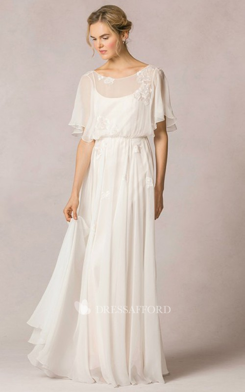 casual scoop-neck Half-sleeve Dress With Deep-V Back And Appliques
