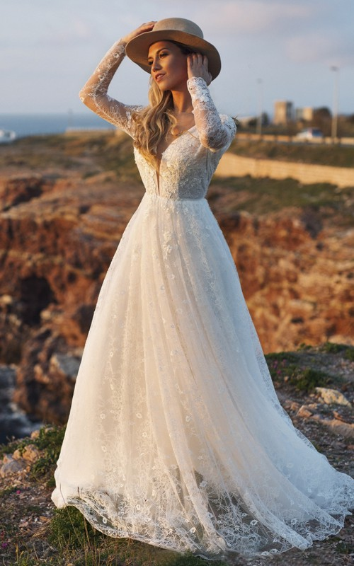 Plunging Ethereal Illusion Long Sleeve Deep V-back Lace A-line Wedding Dress