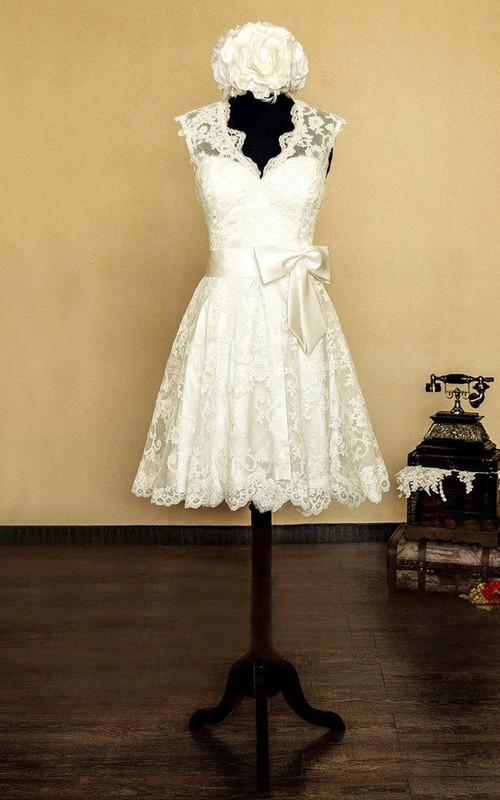 Short Bow Flower Sleeveless V-Neckline Bridal Dress