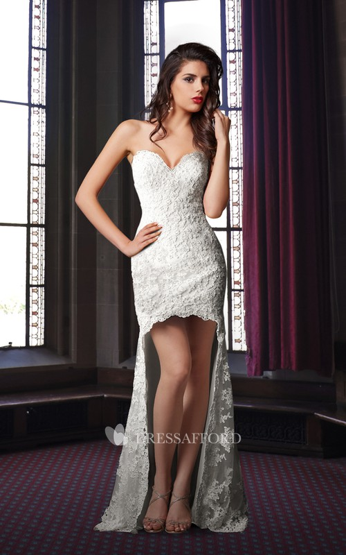 Sweetheart Lace Appliqued Front-split Wedding Dress With Court Train