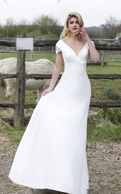 Satin Appliqued Wedding Dress With Plunging V-neck And Floral Cap Sleeves
