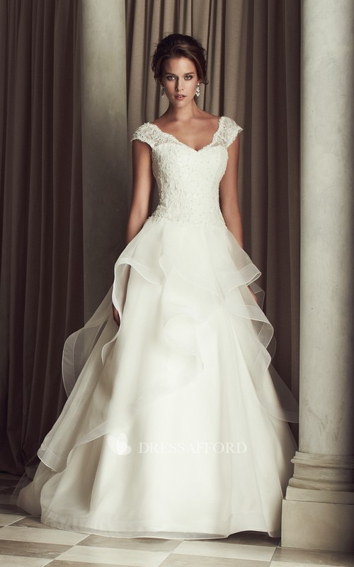 V-neck Cap-sleeve A-line Ruffled Wedding Dress With Appliques And Court Train