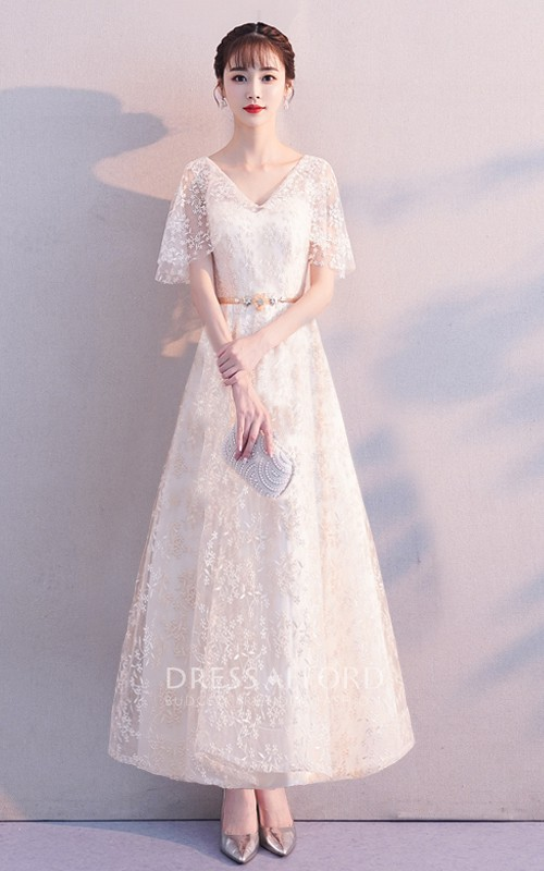 V-neck Lace Ankle-length Prom Formal Cocktail Dress