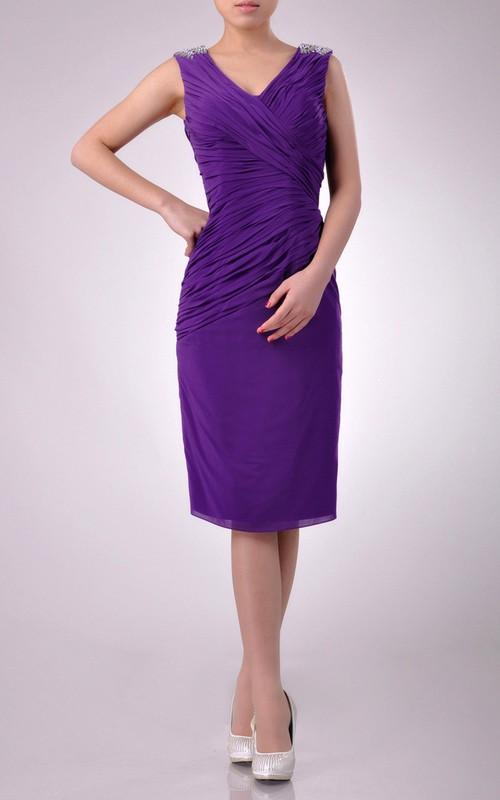 Chiffon Slanting Pleated V-Neck Short-Midi Bridesmaid Dress