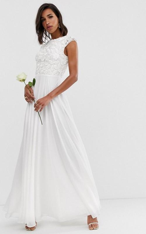 Simple Chiffon and Lace Sheath Jewel-neck Long Wedding Dress