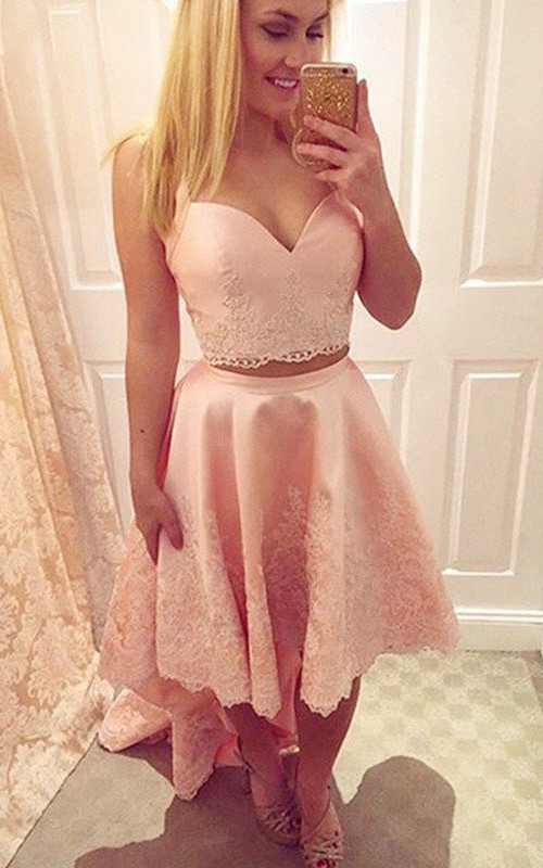 Sleeveless A-line High-low Straps Sweetheart Appliques Satin Lace Homecoming Dress