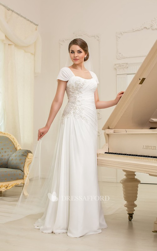 Cap-Sleeve Ruched Appliques Long A-Line Chiffon Gown