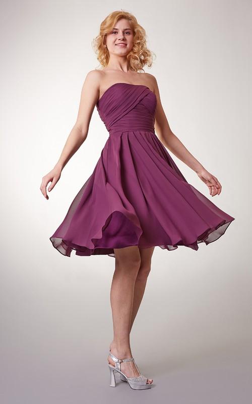 Sleeveless Ruched Short Strapless Simple Chiffon Dress
