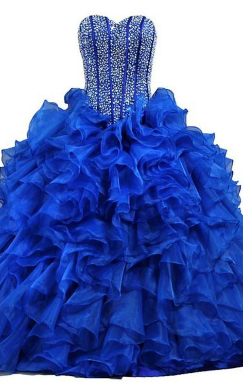 Full-Length Sequined Lace Sweetheart Bell Ruffled Jeweled Corset Ball Gown