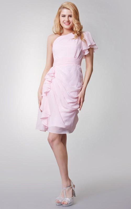 Elegant Short Ruffled Chiffon Dress With One Sleeve