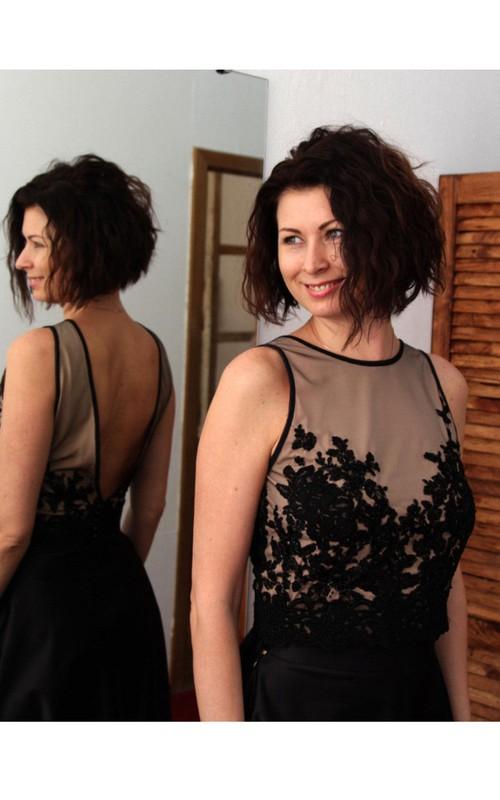 Satin Illusion Top Floor-Length High-Neckline V-Back A-Line Dress