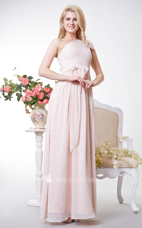 Chiffon Bows One-Shoulder Greek-Inspire Floor-Length Dress