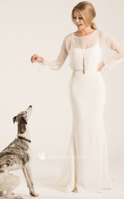 Scoop-neck Long Sleeve Sheath Dress With Low-V Back And Sweep Train