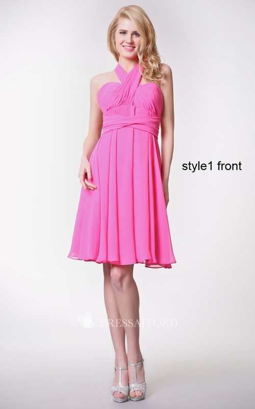 Chiffon Convertible Strapped Ruched Sweetheart Dress