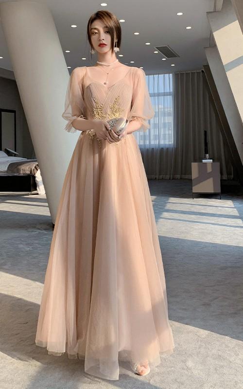 Off-the-shoulder V-neck Tulle Floor-length Evening Formal Dress With Appliques