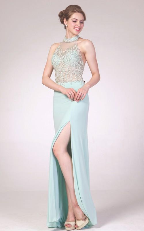 Column Split Front Jeweled High-Neck Sleeveless Backless Jersey Dress