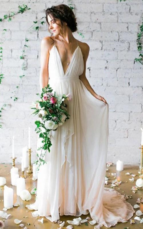 Spaghetti V-neck Chiffon  Sleeveless Wedding Dress