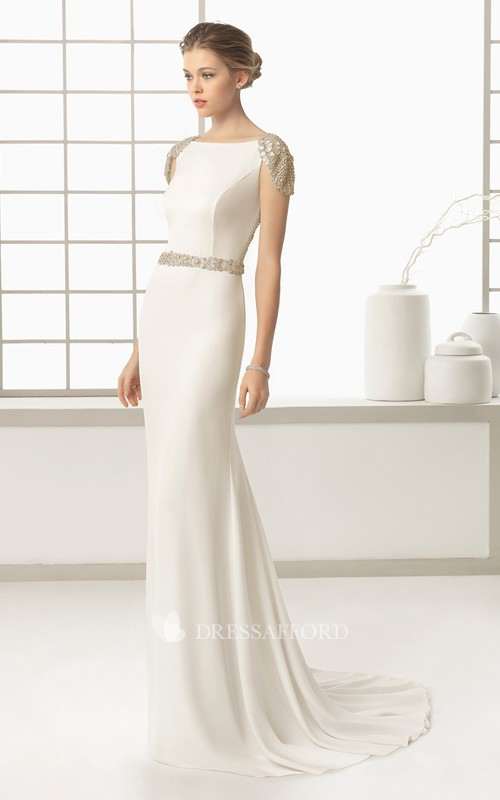 Bateau Cap-sleeve Sheath Dress With Beading And Sweep Train