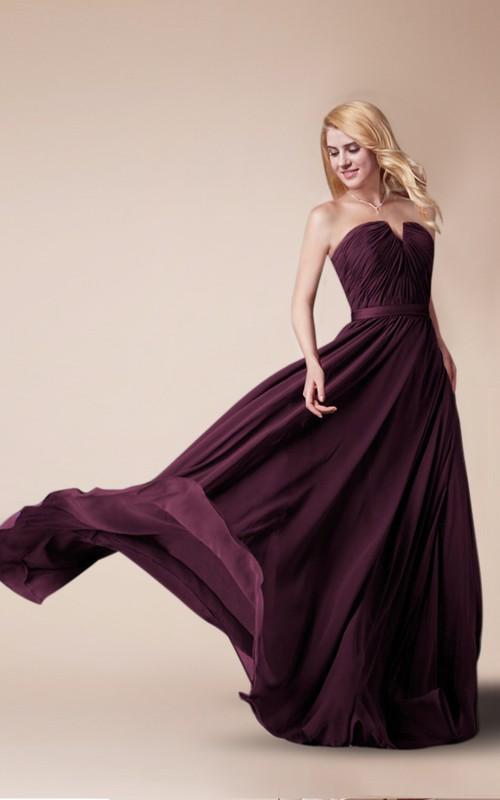 notched Strapless Chiffon long Bridesmaid Dress With Ruching And Zipper